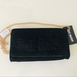 NEW Steve Madden Black Suede Crossbody Bag